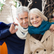 Couple With Shopping Bags At Christmas Store — Stock Photo