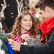 Happy Couple Shopping For Christmas Tree — Stock Photo