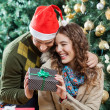 Happy Couple Holding Present Against Christmas Tree — Stok fotoğraf