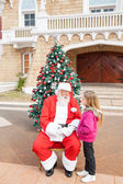 Sant Claus And Girl Looking At Each Other — Stockfoto