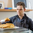 Cafe Owner Serving Sweet Food — Stock Photo