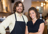Happy Coffee Shop Owners — Stock Photo