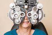 Happy Woman Having An Eye Test — Stock Photo