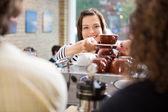 Customer Taking Coffee From Barista — Stock Photo
