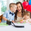 Mother And Children Celebrating Birthday — Stock Photo
