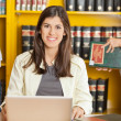 Happy Woman With Laptop At University Library — Foto Stock
