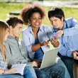 Students With Using Mobilephone In University Campus — Foto de Stock