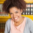 Beautiful Student Smiling In University Library — Stock Photo