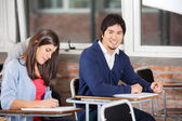 Student Sitting At Desk With Classmate In Classroom — 图库照片