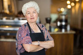 Senior Business Owner in Cafe — Stock Photo
