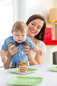 Mother With Baby Boy Celebrating Birthday At Home — Stock Photo