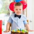 Boy Licking Lips While Looking At Birthday Cake — Stok fotoğraf