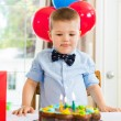 Boy Licking Lips While Looking At Birthday Cake — Stock fotografie #35420167