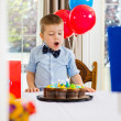 Boy With Mouth Open Looking At Cake — Stock Photo #35420891