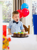 Boy With Mouth Open Looking At Cake — Stock Photo