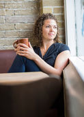 Woman With Coffee Mug In Cafeteria — Stock Photo