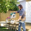 Carpenter using Table Saw — Stock Photo
