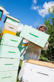 Beekeeper Carrying Honeycomb Crate — Stock Photo