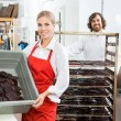 Beautiful Worker Showing Beef Jerky In Basket At Shop — Stock Photo