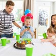 Family Celebrating Boy's Birthday At Home — Stock Photo