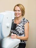Optometrist Using Digital Retina Camera — Stock Photo