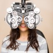 Woman Getting Eye Examination — Photo