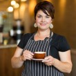 Barista in Small Cafe — Stock Photo