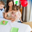 Mother And Children Celebrating Birthday Party — Stock Photo