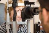 Boy's Eyes Being Examined By Slit Lamp — Stock Photo
