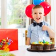 Birthday Boy With Cake And Present On Table — Stock Photo