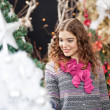 Beautiful Woman Shopping At Christmas Store — Stock Photo