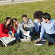 Happy Man With Classmates Sitting At College Campus — Stock Photo