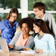 University Students Using Laptop At Desk In Classroom — Stock Photo