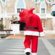 SantClaus Carrying Bag While Walking In Courtyard — Stock Photo #35908771