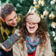 Stock Photo: Man Surprising Woman With Gift In Christmas Store