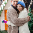 Happy Couple Embracing At Christmas Store — Stock Photo