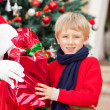 Boy Taking Gift From Santa Claus — Stok fotoğraf