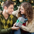 Couple With Present Sitting Against Christmas Tree — Stock Photo #35909555