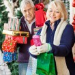 Woman Shopping Christmas Presents With Man — Stock Photo #35909797