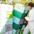 Beekeeper Loading Stacked Honeycomb Crates — Stockfoto