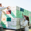 Beekeepers Loading Honeycomb Crates In Truck — Stock Photo #36045891