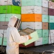 Stock Photo: Beekeeper Unloading Honeycomb Crate From Truck