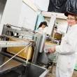 Stock Photo: Female Beekeeper Working On Honey Extraction Plant