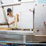 Beekeeper Brushing Honeycomb Before Extracting Honey — Stock Photo