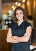 Waitress Standing Arms Crossed In Espresso Bar — Stock Photo