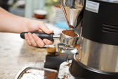 Barista Holding Portafilter With Ground Coffee In Cafe — Stock Photo