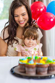Mother With Daughter Celebrating Birthday Party — Stock Photo