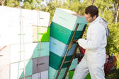 Beekeeper Loading Stacked Honeycomb Crates — Stock Photo