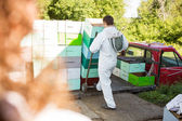 Male Beekeeper Loading Stacked Honeycomb Crates — Stock Photo