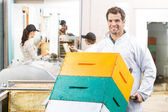 Handsome Beekeeper With Trolley Of Stacked Honeycomb Crates — Stock Photo